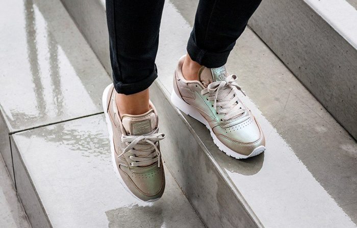 reebok classic leather pearlized champagne white