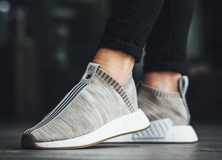 new product 3f618 0a1ea Adidas NMD R1 PK Tan White On feet Video at Exclucity