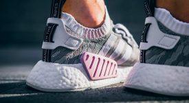 sports shoes 4a6da 54eb4 adidas NMD R2 Grey Pink Primeknit