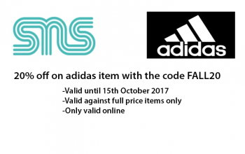 20% off at Sneakersnstuff for adidas Items