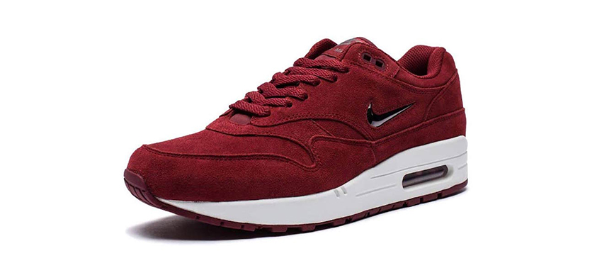 Nike Air Max 1 Jewel Red Suede First Look 918354-600 Buy New Sneakers Trainers FOR Man Women in United Kingdom UK Europe EU Germany DE 08