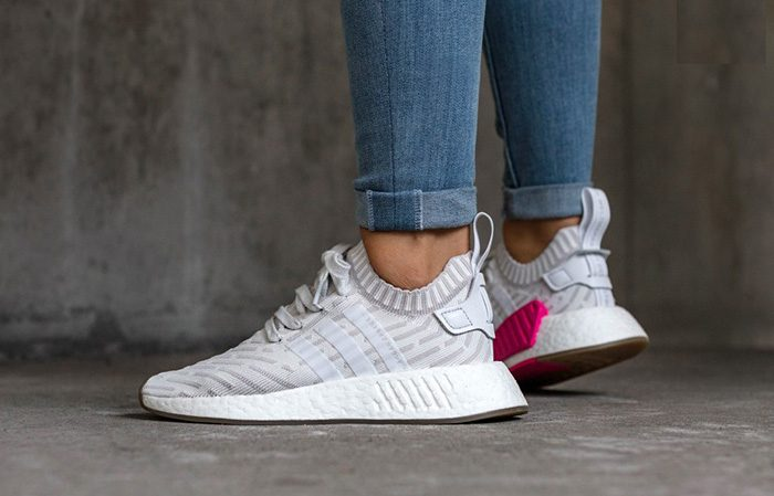 low priced 2222f b7bbf adidas NMD R2 White Pink Primeknit BY9954