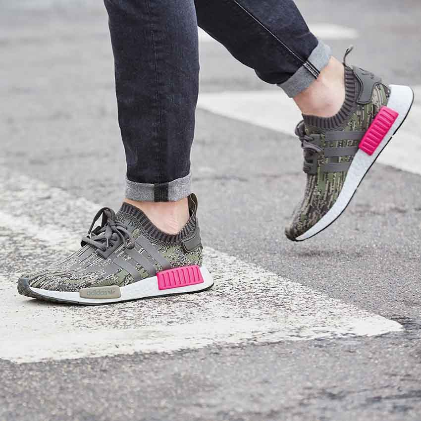 brand new bc7ba 081c2 On Foot Look at the adidas NMD R1 Green Glitch Camo Green ...