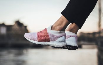 adidas Ultra Boost Laceless Scarlet On Foot Shots feature