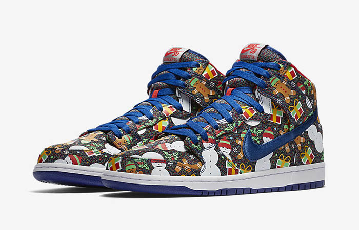 Concepts Nike SB Dunk High Ugly Sweater Christmas 881758-446 Buy New Sneakers Trainers FOR Man Women in United Kingdom UK Europe EU Germany DE 02