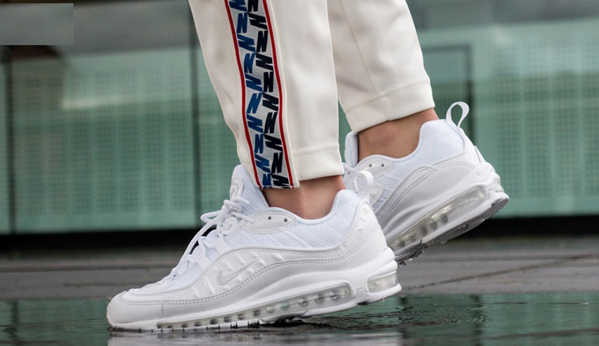 Nike Air Max 98 Triple White On Foot Look – Fastsole