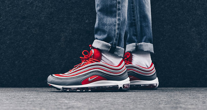 newest bb251 a1f27 On Foot Look At The Nike Air Max 97 Red Grey 02