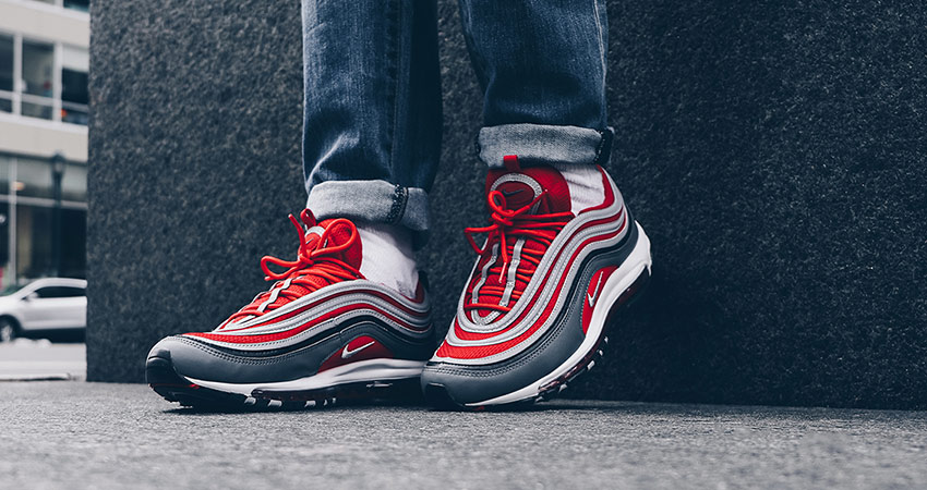 detailing 93783 8c7ef On Foot Look At The Nike Air Max 97 Red Grey 03