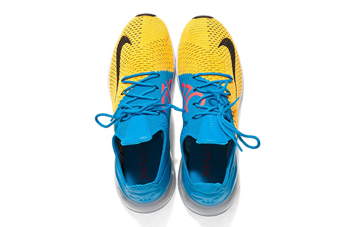 size 40 63e17 5a7d4 Nike Air Max 270 Flyknit Yellow Blue AO1023-800