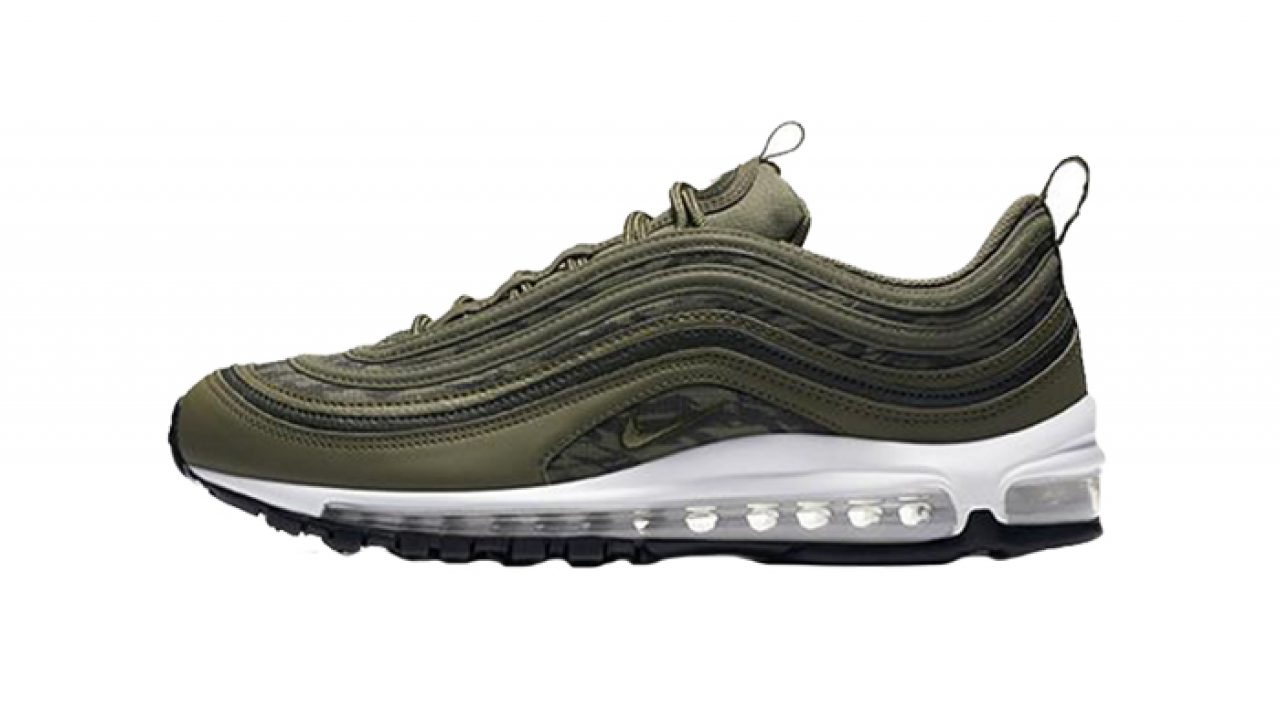 "Look for Men's Nike Air Max 97 ""Tiger Camo"" Olive AQ4132 200"