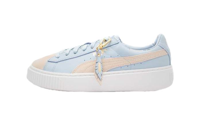 cheap for discount e5400 f024b Puma Basket Heart Coach Cashmere Blue Womens 366364-01