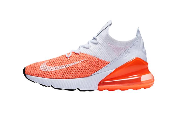 Nike Damen Air Max 270 Flyknit OrangeWeiß Orange ah6803 800
