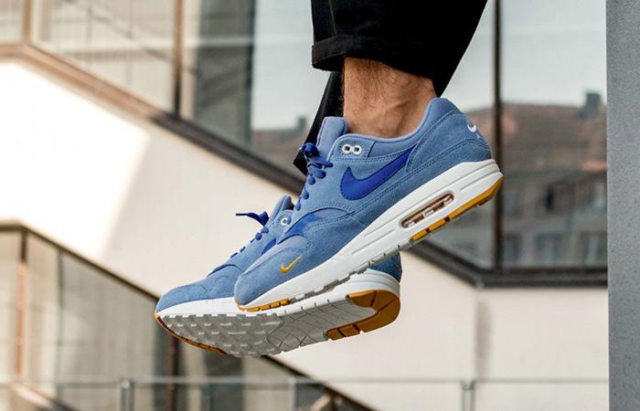 9fd611b1aa ... Nike Air Max 1 Premium Mini Swoosh Blue 875844-404 08 ...