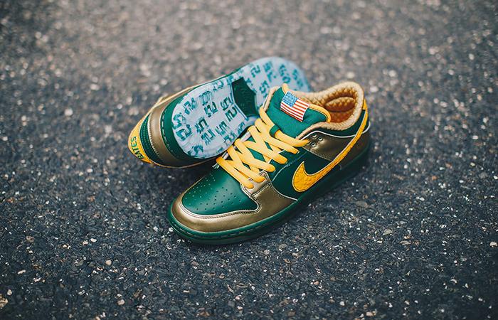 wholesale dealer b73a2 537db Nike SB Dunk Pro Low Doernbecher 2019 Gold Green BV8740-377