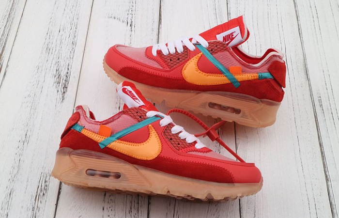 finest selection bb293 4084a Off-White Nike Air Max 90 University Red Orange AA7293-600