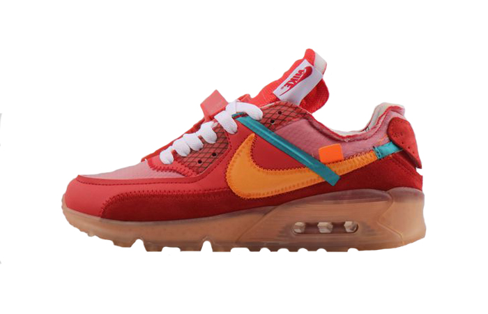 bf7a040eb6 Off-White Nike Air Max 90 University Red Orange AA7293-600 – Fastsole