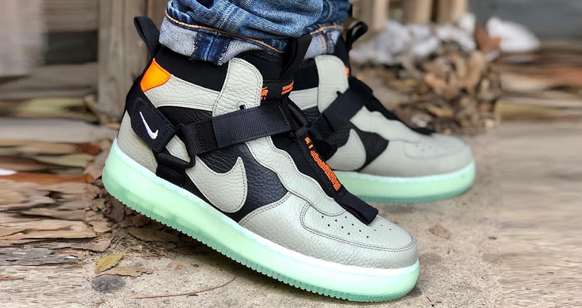 finest selection 1b07e 13811 Nike Air Force 1 Mid Utility Spruce Fog First Look 01