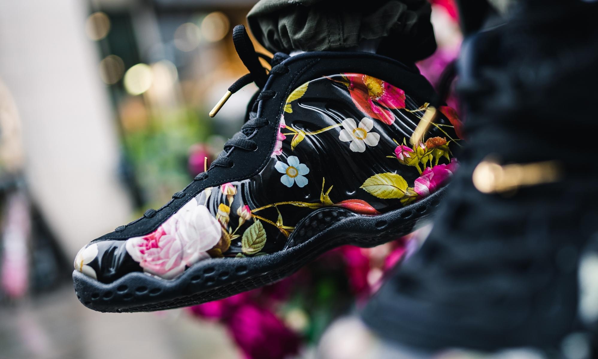 Nike Air Foamposite On Black Floral 314996-012
