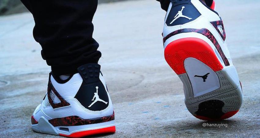 On Foot Look of Nike Air Jordan 4 Hot Lava 02