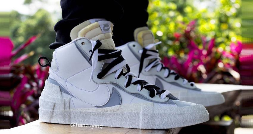 on95011a on feet look of the sacai x nike blazer mid white