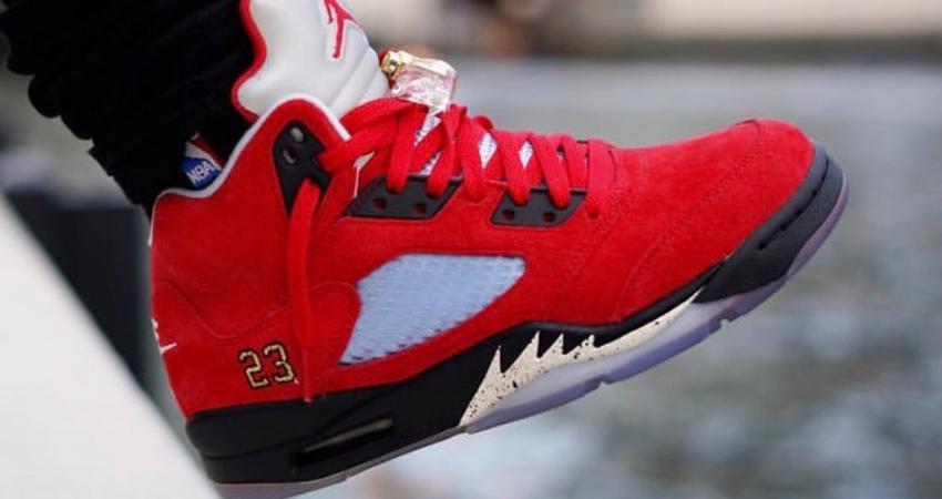 "On Feet Look At The Trophy Room Air Jordan 5 ""University Red"" 01"
