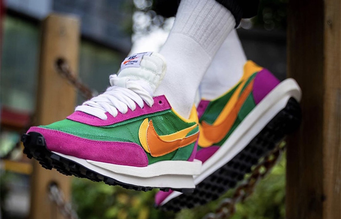 Sacai Nike LDV Waffle Green Pink BV0073-301 on foot 02