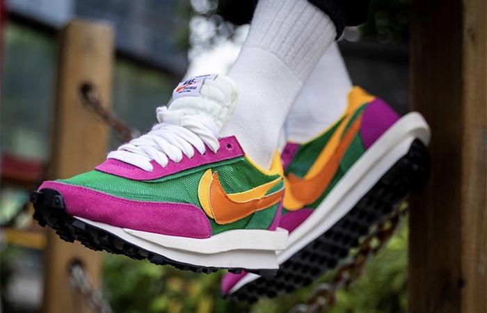 Sacai Nike LDV Waffle Green Pink BV0073-301 on foot 02