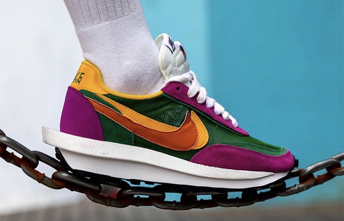 Sacai Nike LDV Waffle Green Pink BV0073-301 on foot 03