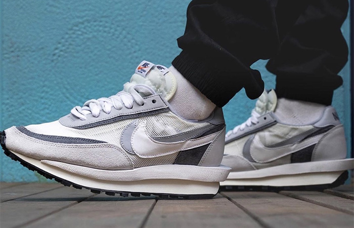 sacai Nike LDV Waffle Wolf Grey BV0073-100 on foot 01