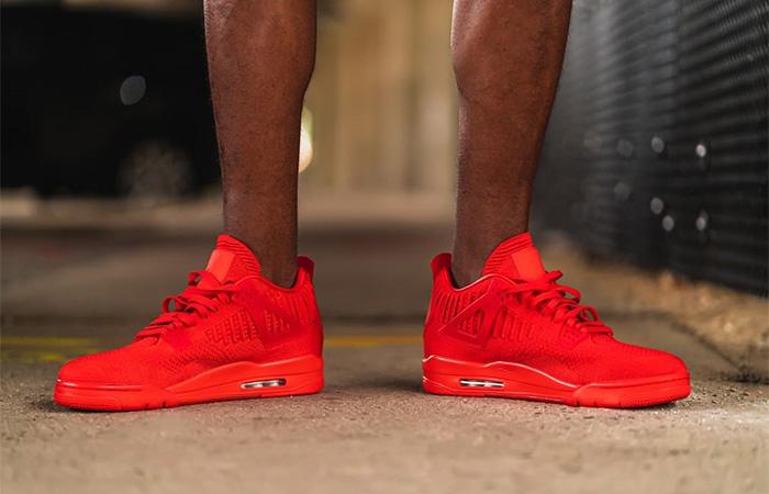 4f6d0edb ... Jordan 4 Flyknit Red AQ3559-600 on foot 01 ...