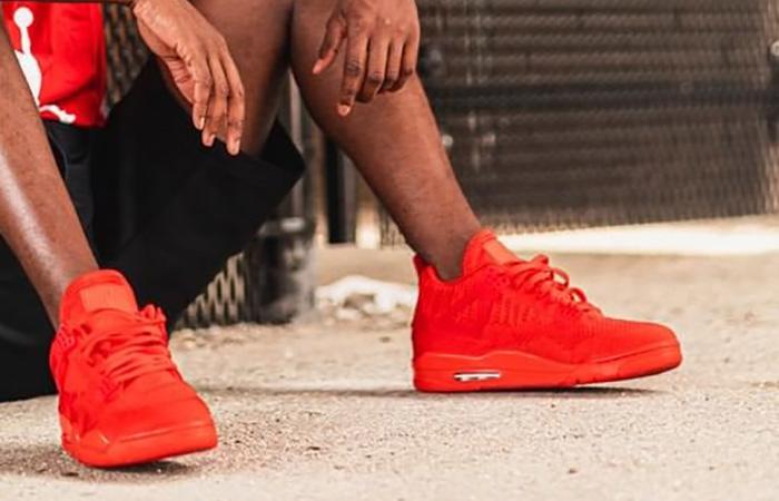 Jordan 4 Flyknit Red AQ3559-600 on foot 02