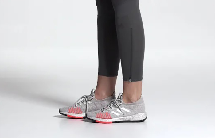 adidas PulseBoost HD Grey Orange G26934 on foot 02