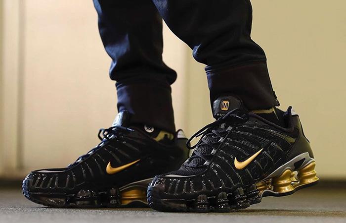 Neymar Jr Nike Shox TL Black Gold BV1388-001 on foot 01