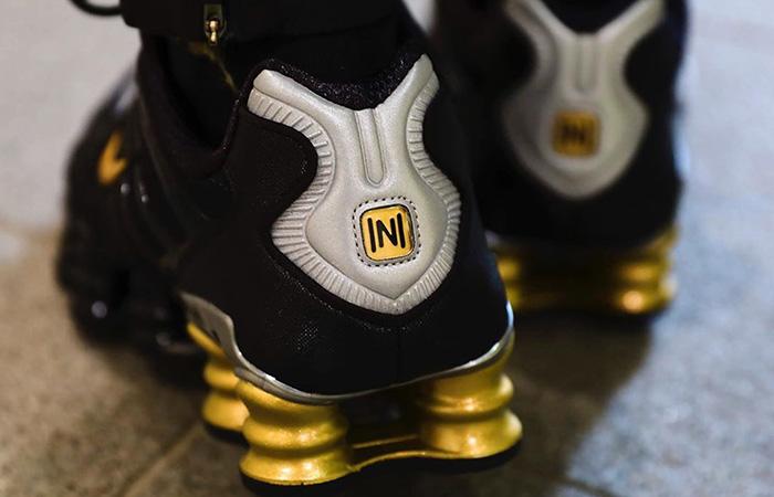 Neymar Jr Nike Shox TL Black Gold BV1388-001 on foot 02