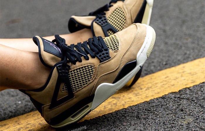 Nike Womens Air Jordan 4 Beige AQ9129-200 on foot 02