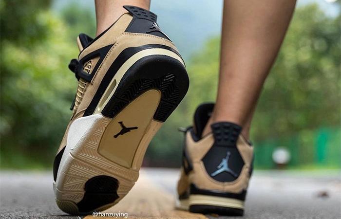 Nike Womens Air Jordan 4 Beige AQ9129-200 on foot 03
