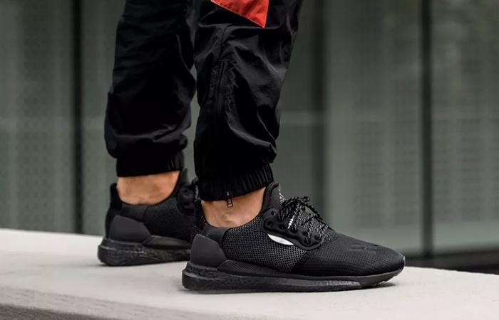 Pharrell adidas Solar Hu Glide Core Black EG7788 on foot 02