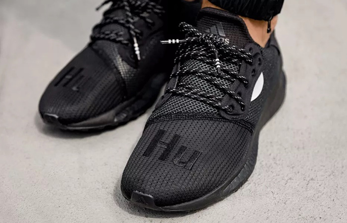 Pharrell adidas Solar Hu Glide Core Black EG7788 on foot 03