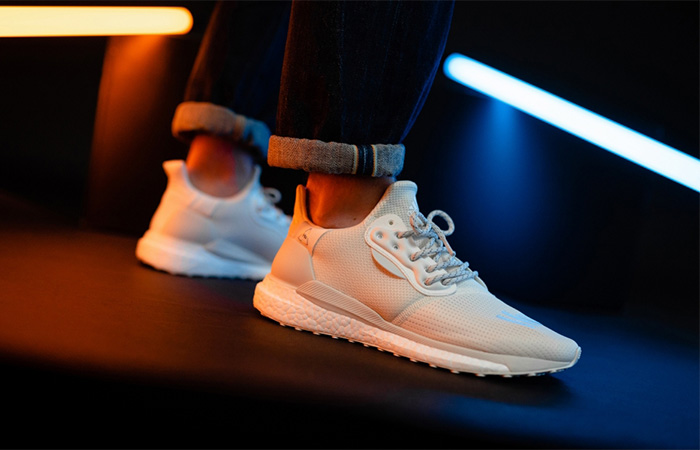 Pharrell adidas Solar Hu Glide Cream EG7767 on foot 01
