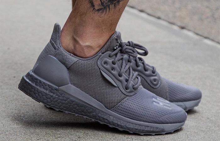 Pharrell adidas Solar Hu Glide Grey EF2380 on foot 03