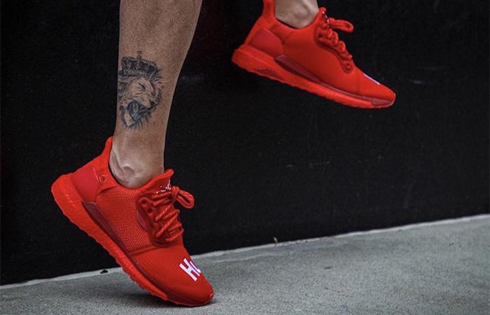 Pharrell adidas Solar Hu Glide Red EF2381 on foot 03