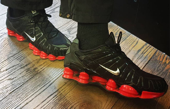 Skepta Nike Shox TL Black Red on foot 01