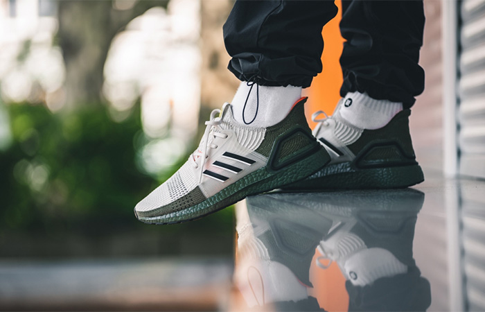 adidas Ultra Boost 19 Grey Olive G27510 on foot 02
