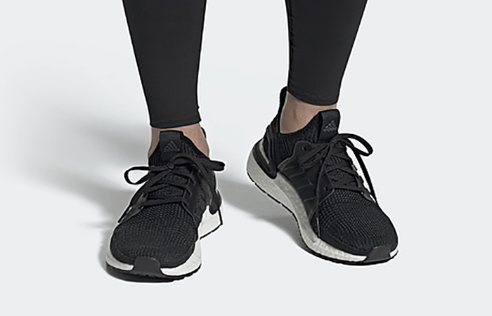 adidas UltraBOOST 19 White Black G54009 on foot 01
