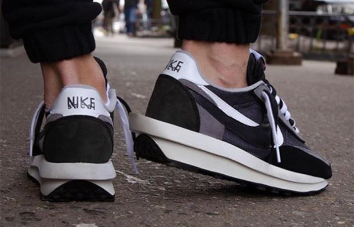 sacai Nike LDV Waffle Black on foot 03