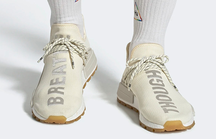 Pharrell adidas NMD Hu Cream White EG7737 on foot 01