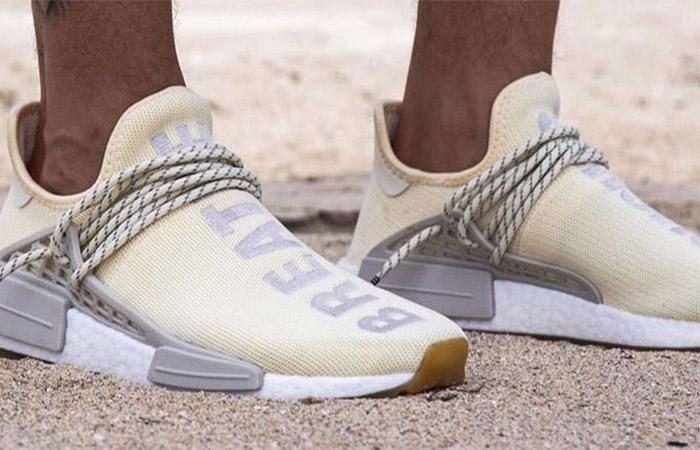 Pharrell adidas NMD Hu Cream White EG7737 on foot 02