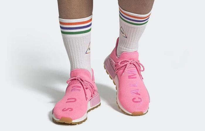 Pharrell adidas NMD Hu Gum Pack Pink EG7740 on foot 01