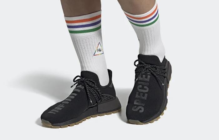 Pharrell adidas NMD Hu Trail Core Black EG7836 on foot 01
