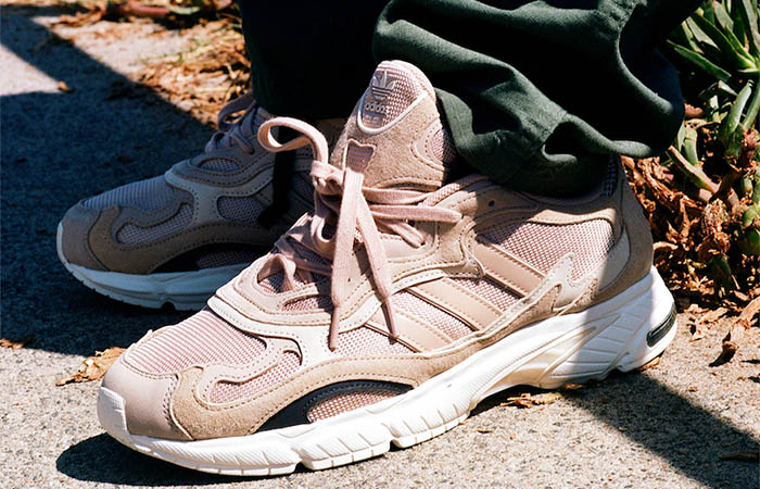 SNS Exclusive adidas Temper Run Pale Nude EE6595 on foot 01